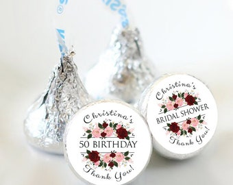 108 Bridal Shower Hershey Kiss® Stickers  - Bridal Shower Kiss Labels - Round Labels - Custom Labels - Birthday Favors - Candy Stickers