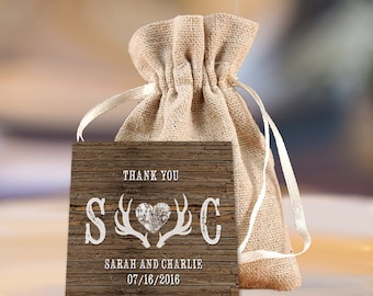 Wedding Favor Tag - Deer Antlers Favor Tags - Rustic Favor Tags - Country Favor Tags - Rustic Wedding Decor -  12 Pieces - 2 x 2 inches