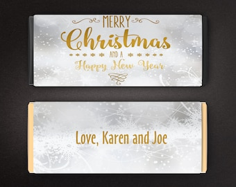 Large Personalized Christmas Hershey's Chocolate Wrappers -  Candy Bar Wrappers - Large Candy Wrappers - Silver Snowflakes (Set of 12)