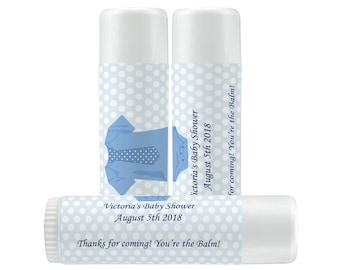 Lip Balm Labels - Personalized Lip Balm Labels - Baby Shower Lip Balm labels -  1 Sheet of 12 Blue Polka Dots and Baby T Lip Balm Labels