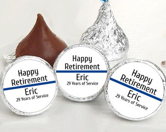 Happy Retirement Kiss® Stickers - Retirement Kiss Stickers - Retirement Candy Labels - Retirement Favors - Retirement Candy Stickers