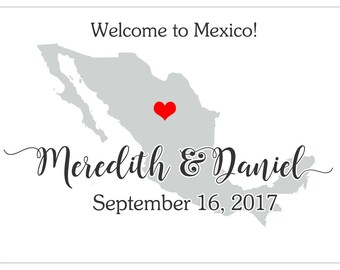 """4"""" x 3""""  Personalized Welcome Box Labels -  30 Wedding Welcome Bag Labels - Wedding Labels - Welcome Stickers - Box Stickers - Mexico"""