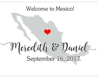 Personalized Welcome Box Labels -  Welcome Bag Labels - Wedding Labels - Welcome Stickers - Box Stickers - Mexico