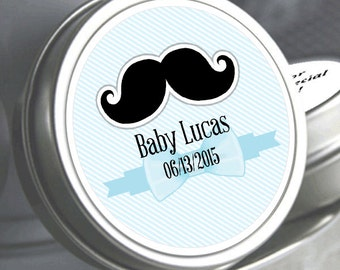 "12 Little Man's Black Mustache Baby Shower Mint Tins - Need a different quantity? Click on the ""choose total"" tab to see all pricing"
