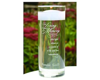 Personalized Memorial Vase - In Loving Memory Vase -Floating Wedding Memorial Candle - Memorial Candle - Engraved Memorial Cylinder