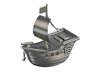 Personalized Pirate Ship Bank -  Coin Bank - Personalized Pirate Bank - Coin Bank Gift - Ring Bearer Gift - Engraved Bank