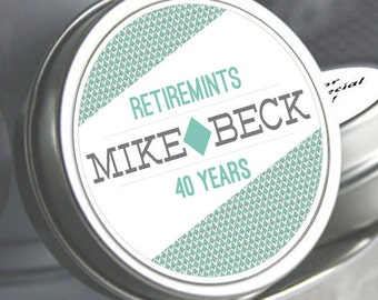 12 Retirement Mint Tin Favors -  RetireMints - Retro Diamond Style - Retirement Favors - Retirement Decor - Retirement Mints - Retired
