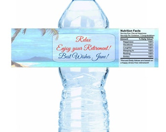 "Island Beach Themed Retirement Water Bottle Labels - Select the quantity you need below in the ""Pricing & Quantity"" option tab"
