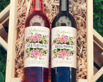 Pink Roses Large Wine Labels for Bridal Showers, Birthdays, Weddings, and Baby Showers