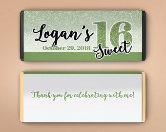 12 Large Personalized Hershey Candy Bar Wrappers - Sweet 16 Birthday Favor  - Faux Green Glitter - Sweet 16 - Birthday Candy Wrapper