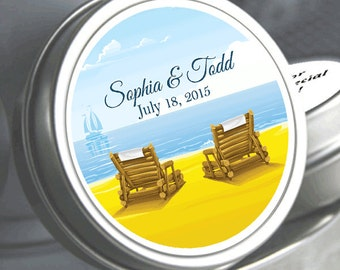 """12 Beach Chairs Wedding Mint Tin Favors  - Select the quantity you need below in the """"Pricing & Quantity"""" option tab"""