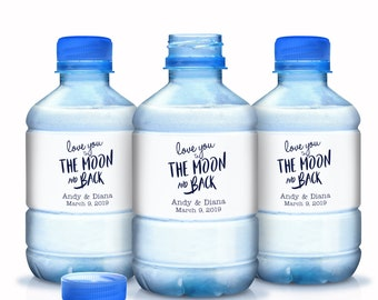 Love you to the Moon and Back Wedding Water Bottle Labels | Personalized Water Bottle Labels | Wedding Welcome Label | Bottled Water Wraps