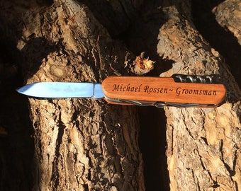 Personalized Pocket Knife, Hunting Knife, Gift for Men, Fathers Day, Custom Camping Knife, Groomsmen Knife, Engraved Knifes, Engraved Wood