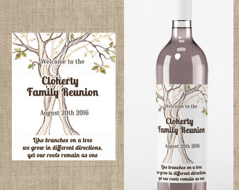 Family Reunion Wine Labels - Family Reunion Favors -Family Reunion Wine Labels - Family Reunion Decor - Personalized Family Reunion Labels