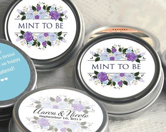 72 Mint to Be Wedding Favors - Personalized Wedding Mint Tins - Personalized Wedding Favors - Wedding Decor - Blue and Purple - Thank You