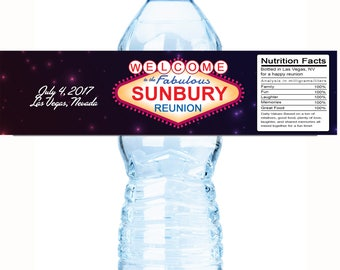 Family Reunion Water Bottle Labels, Family Reunion Favors, Las Vegas,  Reunion Decor,  Reunion Party Favors,  Reunion Favors