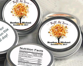 156 Fall Mint Tin Party Favors - Personalized Fall Mint Tins - Fall Bridal Shower - Mint Favor Keepsake - Fall in Love - Autumn Mint Favors