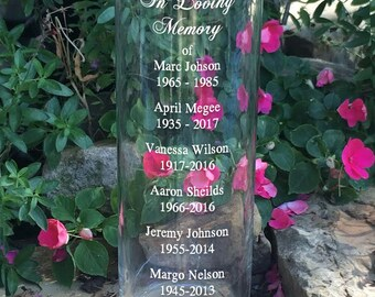 In Loving Memory Vase - Memorial Vase -Floating Wedding Memorial Candle - Memorial Candle - Engraved Memorial Cylinder - Names and Dates
