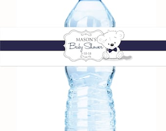 30 White Bear and Navy Bow Baby Shower Water Bottle Labels  - Baby Shower Decor - Baby Shower Labels - Boy Baby Shower