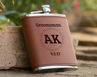 Personalized 6 oz. Initials Leatherette Stainless Steel Flask - Groomsman Flask - Personalized Flask - Brown Flask - Circle Monogram Flask