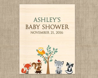 Baby Shower Wine Label - Custom Wine Label - Personalized Wine Label - Woodlands Baby Wine Bottle Label - Baby Animals Wine Label
