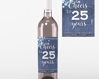 Retirement Wine Labels  - Denim and Diamonds Retirement Labels  - Denim and Diamonds Wine Bottle Labels - Retirement Decor