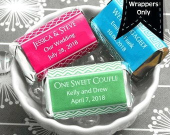 Personalized Hershey's Miniatures Chocolate Wrappers - Wedding Decor - Wedding Mini Wrappers - Miniature Hershey Wrappers