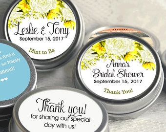 Mint to Be Wedding Favors - Personalized Wedding Mint Tins - Personalized Wedding Favors - Wedding Decor - Yellow and White  - Thank You