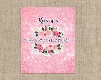 Personalized Lip Balm Labels - Pink Glitter Sweet 16 Party labels -  1 Sheet of 12 Lip Balm Labels - Sweet Sixteen Lip Balm Labels