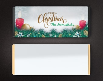 Large Personalized Christmas Chocolate Wrappers, Candy Bar Wrappers, Large Candy Wrappers, Merry Christmas Candle lights (Set of 12)