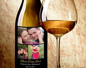 Collage Photo Wine Label - Personalized Wine Label with 3 Photos - Wedding Wine Bottle Labels