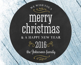 Merry Christmas Labels, Merry Christmas Stickers, Happy Holiday Labels, Happy holidays stickers, Christmas Card Seals, Gift Stickers
