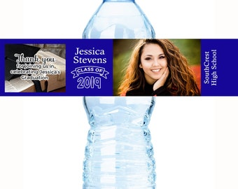 Graduation Water Bottle Labels - Graduate Bottled Water Labels - 30 Custom Water Bottle Labels - Photo Graduate Water Bottle Labels
