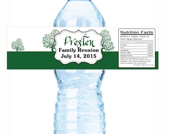 "Green Tree Family Reunion Water Bottle Labels- Select the quantity you need below in the ""Pricing & Quantity"" option tab"