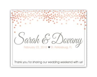 """4"""" x 3""""  Personalized Welcome Box Labels -  30 Wedding Welcome Bag Labels - Favor Labels - Welcome Stickers - Box Stickers - Pink Blush Dots"""