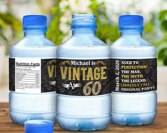 30 Vintage at 60 Milestone Birthday Water Bottle Labels
