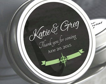 12 Nautical Themed Chalkboard Mint Tin Favors  - Nautical Wedding Favors, Anchor Wedding Favors, Mint Favors