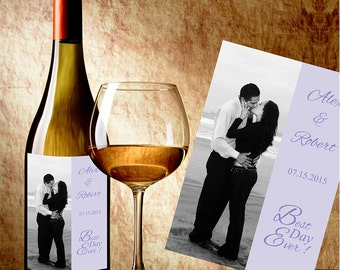 "Personalized Custom Color Wedding Wine Labels With Photo -  Select the quantity you need below in the ""Number of Labels"" option tab"