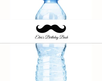 Mustache 1st Birthday Water Bottle Labels - Boys Birthday - Birthday Bash Water Bottle Labels - 1st Birthday Decor