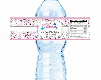 Dots ButterfliesBirthday Water Bottle Labels  - Sweet 16 Decor - Sweet 16 Party Favors - Sweet 16 Bottle Labels - Sweet 16 Water Labels