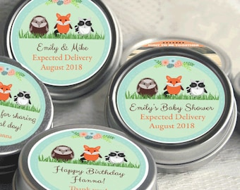 12 Personalized Baby Shower Mint Tins - Baby Animals Baby Shower Favors - Baby Fox  Baby Shower Favors - Baby Hedgehog - Baby Raccoon