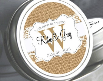 Rustic Wedding Decor - 50  Personalized Wedding Mint Tins - Burlap and Lace Tin Mints - Personalized Wedding Favors - Mint To Be Tins