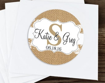 Glossy Round Sticker Label Tags - Custom Wedding Favor & Gift Tags - Choice of Color - Burlap and Lace Monogram Stickers