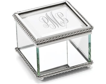 Personalized Monogram Glass Jewelry Box, Beaded Trinket Box, Personalized Glass Jewelry Box, Glass Box, Flower Girl Jewelry Box