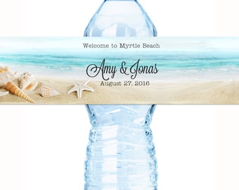 Beach Wedding - Wedding Water Bottle Labels - Beach Water Bottle Labels  - Waterproof Water Bottle Labels - Custom Water Bottle Labels