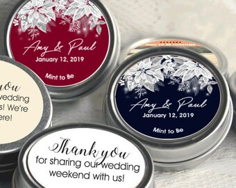 Personalized White Poinsettia Winter Wedding Mint Tins - Poinsettia Candy Mint Tins - Winter Wedding Decor- Winter Wedding Favors  Set of 12