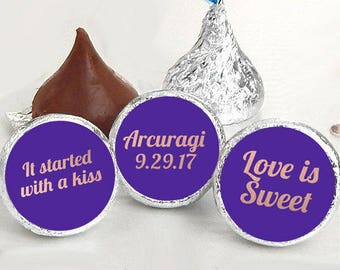 108 Hershey Kiss® Stickers - Purple Kiss Seals - Rose Gold Kiss Stickers - It started with a kiss - Love is Sweet - Wedding Favors - Date