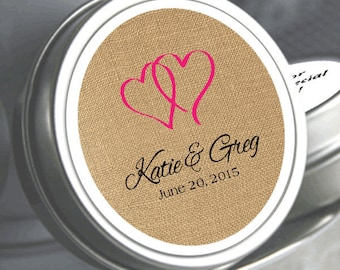 "Double Hearts Burlap Wedding Favors - Wedding Mint Tins - Select the quantity you need below in the ""Pricing & Quantity"" option tab"