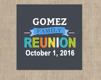 Family Reunion Stickers, Custom Family Reunion Labels - Square Ramily Reunion labels - Family Reunion Stickers - Family Reunion Box Stickers