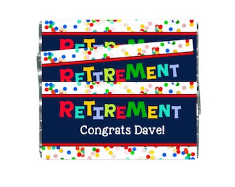 12 Retirement Hershey Wrappers, Retirement Favors, Retirement Labels,  Custom Designed Candy Bar Wrappers for Hershey's Chocolates